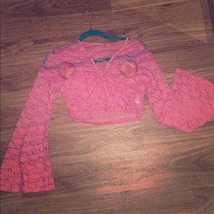 Pink Lace Sheer Top with Bell Sleeves!